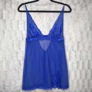 Victoria's Secret Royal Blue Lace Babydoll Chemise